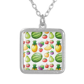 Seamless fruit square pendant necklace