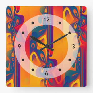 Seamless Graphic Design - yellow red I Square Wall Clock