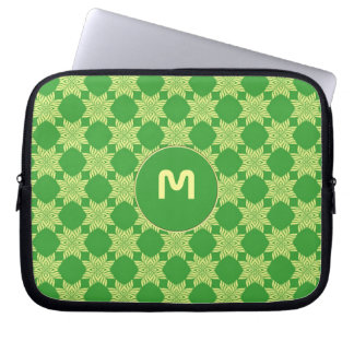 Seamless green leafy pattern computer sleeve