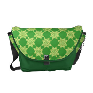 Seamless green leafy pattern courier bag