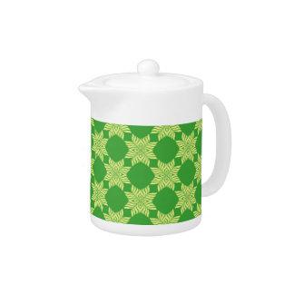 Seamless green leafy pattern teapot
