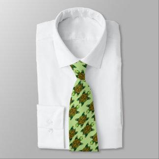 Seamless Green Watercolor Ink Drawn Turtle Tie