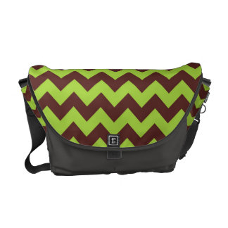 Seamless Green Zigzag Pattern Messenger Bag