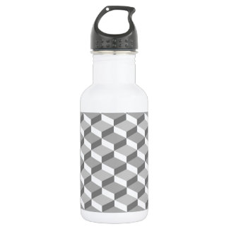 Seamless Grey Geometric 3D Pattern 18oz Water Bottle