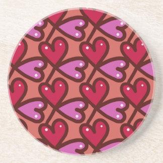 Seamless Hearts #2 Sandstone Coaster