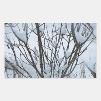 Seamless Icy Tree Bush Rectangular Sticker