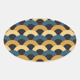 Seamless Japanese Pattern Oval Sticker