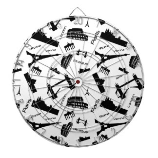 Seamless landmarks background dart board
