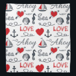 """Seamless nautical pattern bandana<br><div class=""""desc"""">Seamless nautical pattern with nautical symbols (sailing boat,  anchor,  waves,  seahorse,  seashell) and red hearts decoration with text design on white background</div>"""