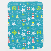 Seamless nautical pattern receiving blanket