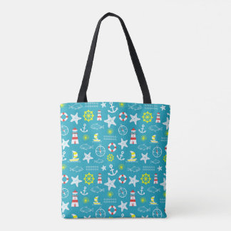 Seamless nautical pattern tote bag