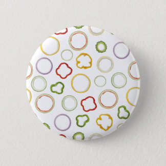 Seamless pattern of assorted ring shaped fruit and pinback button