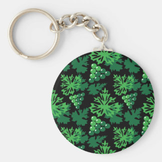 seamless pattern of leaves with grapes keychain