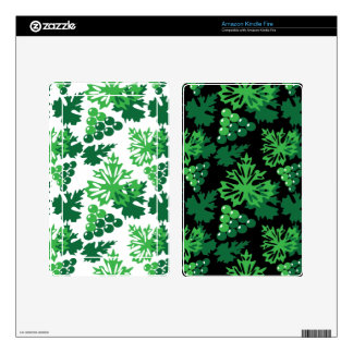 seamless pattern of leaves with grapes kindle fire skin