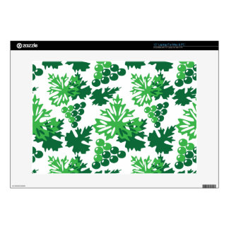 seamless pattern of leaves with grapes laptop decals