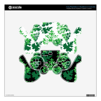 seamless pattern of leaves with grapes PS3 controller skin