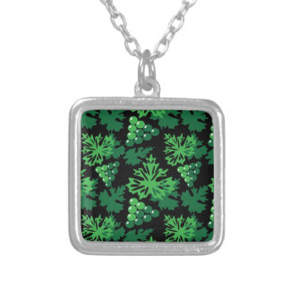 seamless pattern of leaves with grapes silver plated necklace