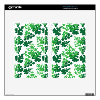 seamless pattern of leaves with grapes skin for kindle fire