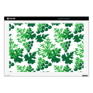 seamless pattern of leaves with grapes skins for laptops