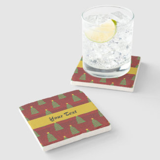 Seamless pattern with Christmas trees Stone Coaster