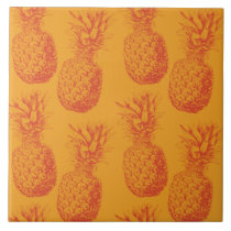 Seamless pattern with pineapples ceramic tile