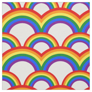 Seamless pattern with rainbows fabric