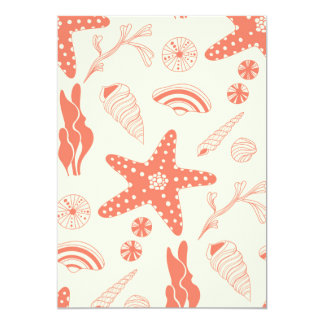 Seamless pattern with sea shells card