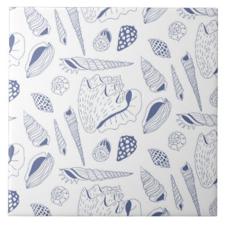 Seamless pattern with sea shells ceramic tile