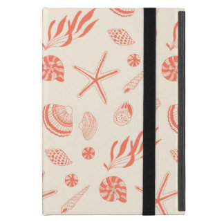 Seamless pattern with sea shells cover for iPad mini