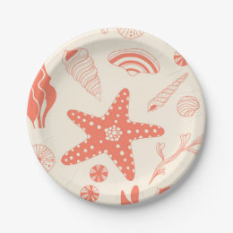 Seamless pattern with sea shells paper plate