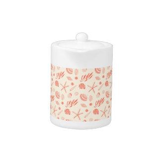 Seamless pattern with sea shells teapot