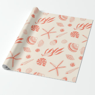 Seamless pattern with sea shells wrapping paper