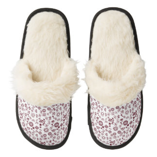 Seamless Pictogram Pattern Tribal Pair Of Fuzzy Slippers