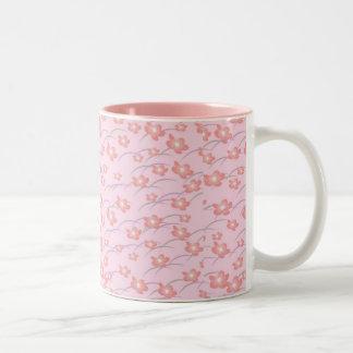 Seamless Pink Blossom Patterns Two-Tone Mug