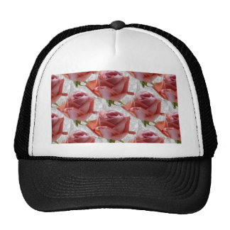 Seamless Pink Roses on Lace Photograph Trucker Hats