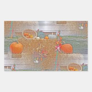 Seamless Pumpkins on Haystack Rectangular Sticker