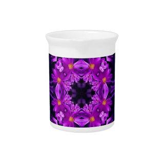 Seamless purple flowers drink pitcher