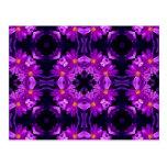 Seamless purple flowers postcard