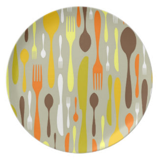 Seamless restaurant cutlery pattern party plate