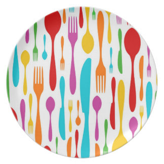 Seamless restaurant cutlery pattern party plates