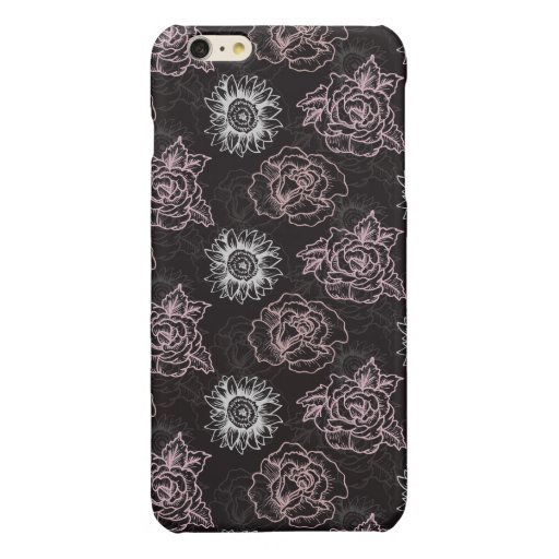 SEAMLESS RETRO ROSE PATTERN GLOSSY iPhone 6 PLUS CASE