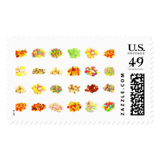 Seamless Sweets and Candy Pattern Background Postage