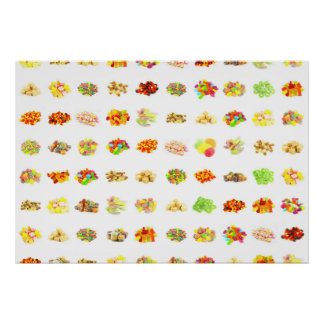 Seamless Sweets and Candy Pattern Background Poster