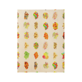 Seamless Sweets and Candy Pattern Background Wood Poster