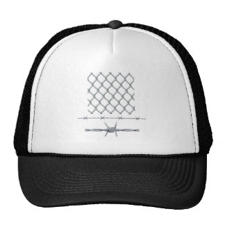 Seamless tiling fence and barbed wire trucker hat