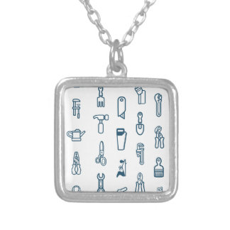 Seamless tool icon background personalised necklace