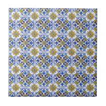 Seamless Traditional Portuguese Azulejo Pattern Ceramic Tile