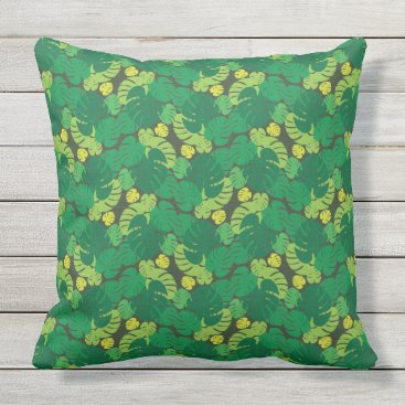 Beach Themed Seamless Tropical Palm Leaves Outdoor Pillow