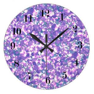 Seamless Violet Purple Silver Glittery Sparkles Gl Large Clock