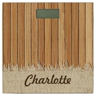 Seamless Wood Pattern & Burlap Texture Custom Name Bathroom Scale